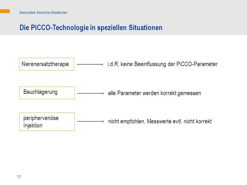 155 Die PiCCO-Technologie in speziellen Situationen Besondere klinische Situationen i.d.R. keine Beeinflussung der PiCCO-ParameterNierenersatztherapie
