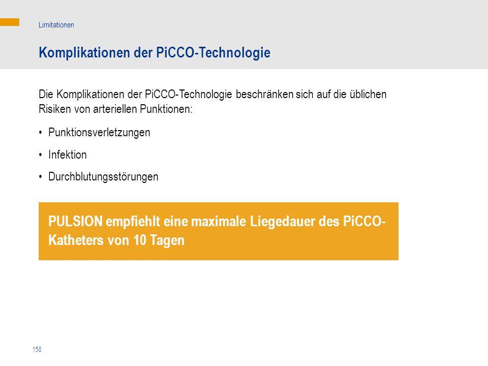 158 Die Komplikationen der PiCCO-Technologie beschränken sich auf die üblichen Risiken von arteriellen Punktionen: Komplikationen der PiCCO-Technologi