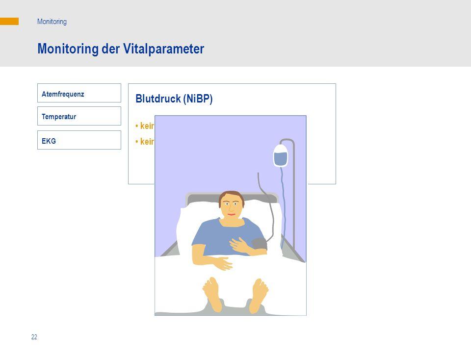 22 Monitoring der Vitalparameter Monitoring Blutdruck (NiBP) keine Korrelation mit dem HZV keine Korrelation mit dem Sauerstoffangebot EKG Atemfrequen