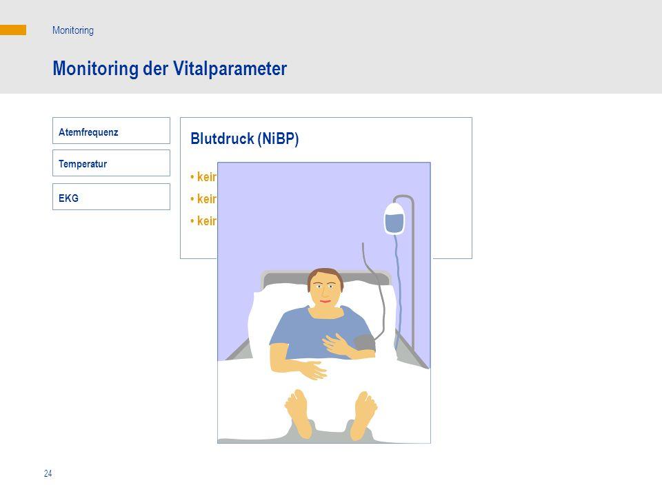 24 Monitoring der Vitalparameter Monitoring Blutdruck (NiBP) keine Korrelation mit dem HZV keine Korrelation mit dem Sauerstoffangebot keine Korrelati