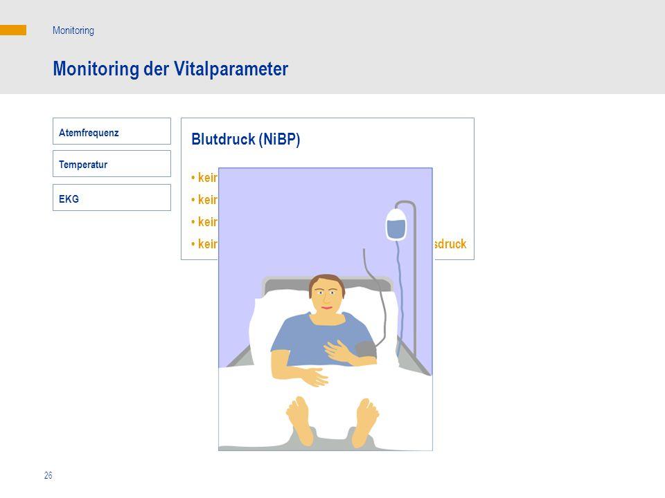 26 Monitoring der Vitalparameter Monitoring Blutdruck (NiBP) keine Korrelation mit dem HZV keine Korrelation mit dem Sauerstoffangebot keine Korrelati