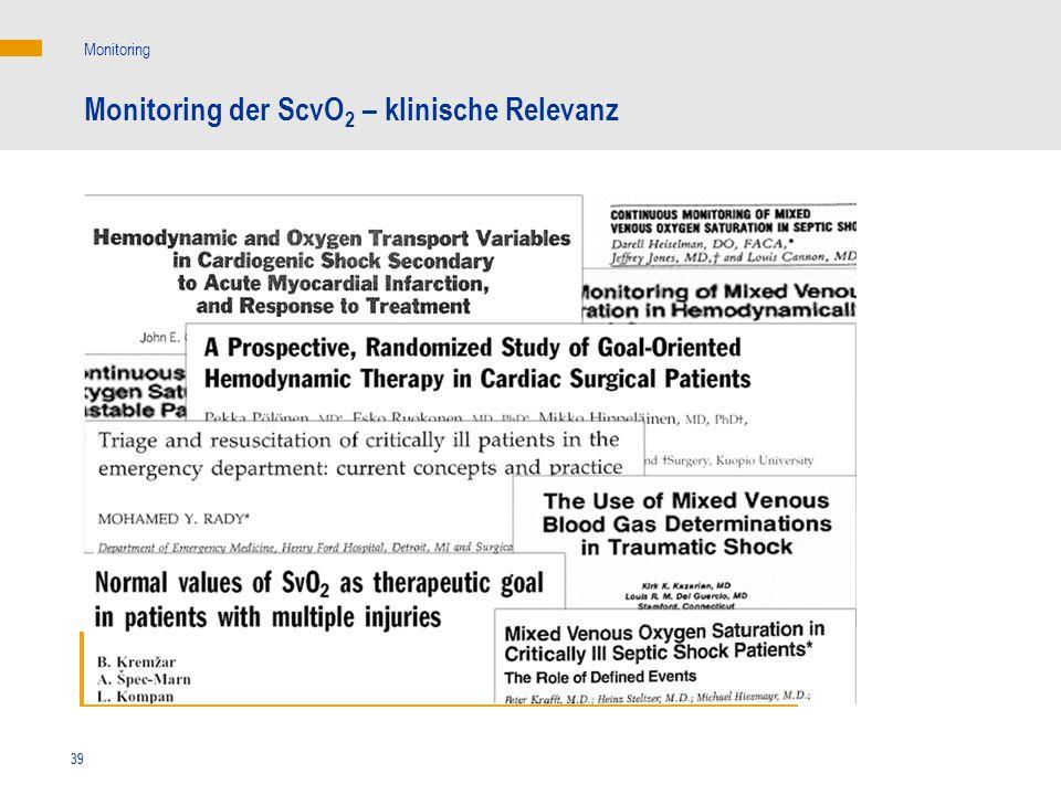 39 Monitoring Monitoring der ScvO 2 – klinische Relevanz Bedeutung der ScvO 2 für die Therapiesteuerung 39