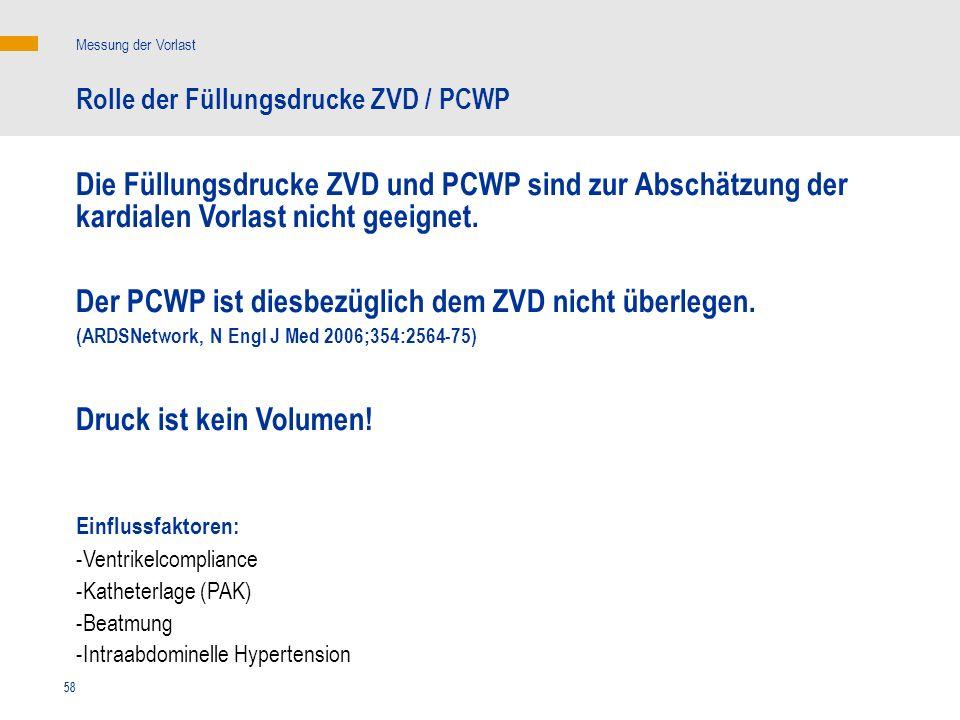 58 Die Füllungsdrucke ZVD und PCWP sind zur Abschätzung der kardialen Vorlast nicht geeignet. Der PCWP ist diesbezüglich dem ZVD nicht überlegen. (ARD