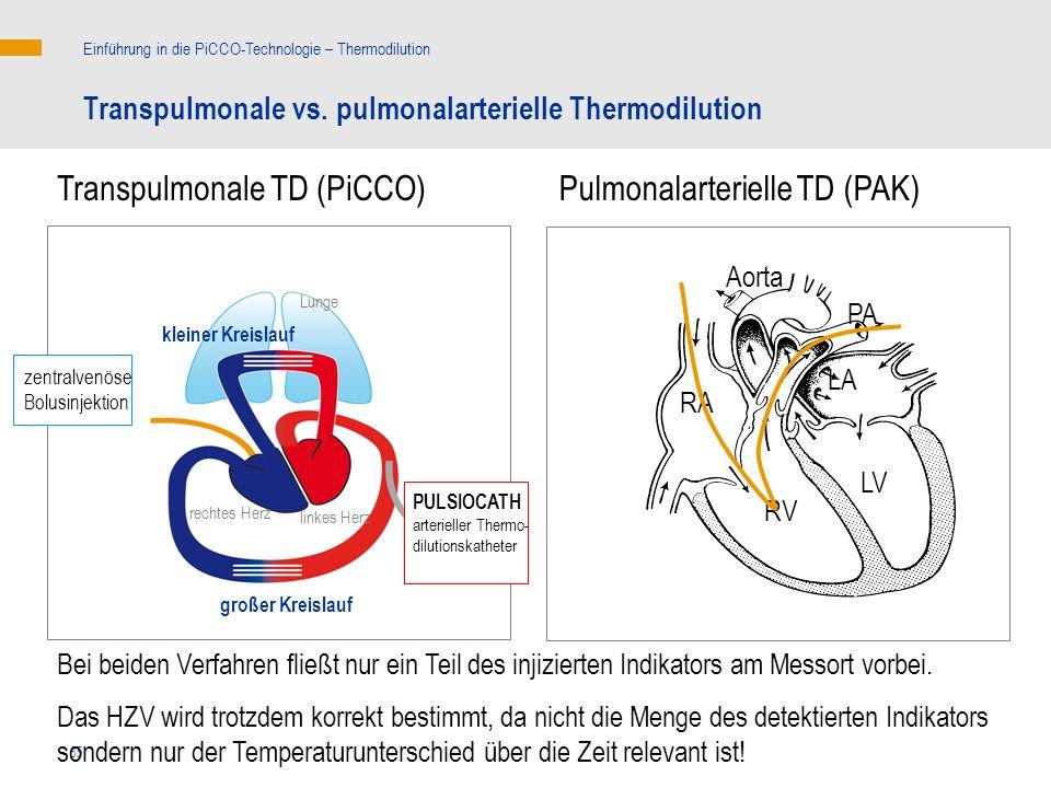 85 Transpulmonale vs. pulmonalarterielle Thermodilution Einführung in die PiCCO-Technologie – Thermodilution linkes Herz rechtes Herz kleiner Kreislau