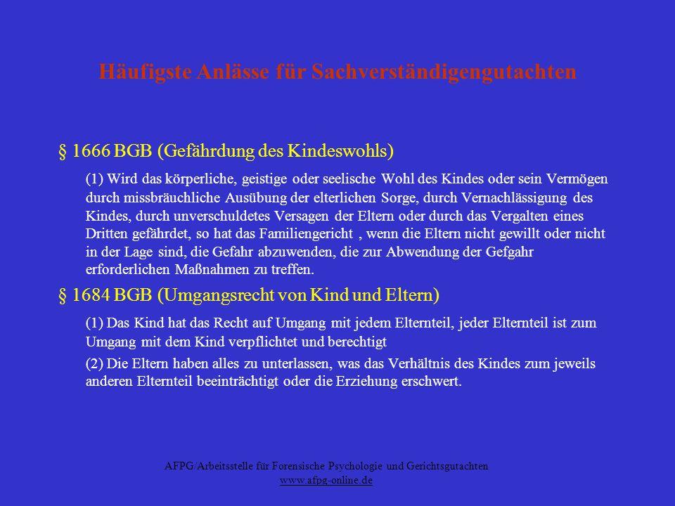 AFPG/Arbeitsstelle für Forensische Psychologie und Gerichtsgutachten www.afpg-online.de Häufigste Anlässe für Sachverständigengutachten § 1666 BGB (Ge