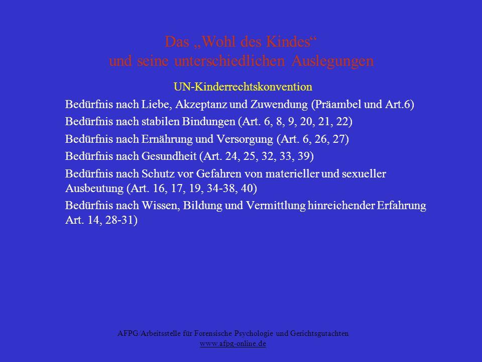 AFPG/Arbeitsstelle für Forensische Psychologie und Gerichtsgutachten www.afpg-online.de Das Wohl des Kindes und seine unterschiedlichen Auslegungen UN