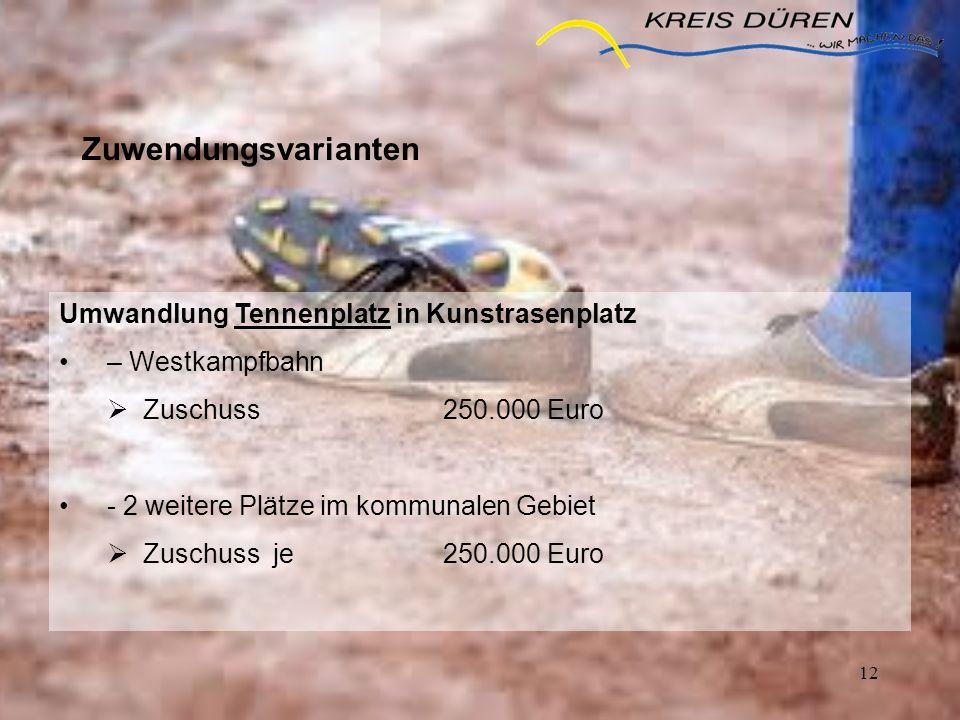 12 Zuwendungsvarianten Umwandlung Tennenplatz in Kunstrasenplatz – Westkampfbahn Zuschuss 250.000 Euro - 2 weitere Plätze im kommunalen Gebiet Zuschus