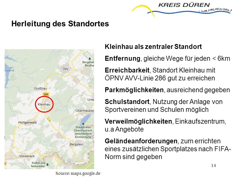 14 Herleitung des Standortes Source: maps.google.de Kleinhau als zentraler Standort Entfernung, gleiche Wege für jeden < 6km Erreichbarkeit, Standort