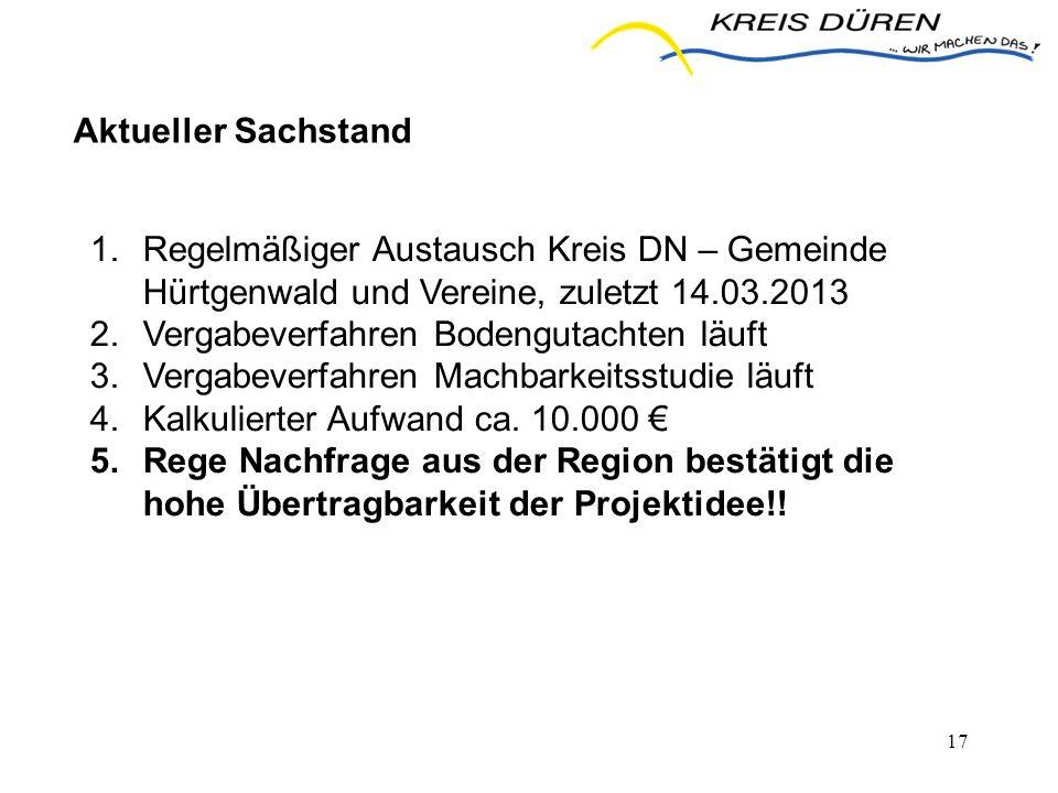 17 Aktueller Sachstand 1.Regelmäßiger Austausch Kreis DN – Gemeinde Hürtgenwald und Vereine, zuletzt 14.03.2013 2.Vergabeverfahren Bodengutachten läuf