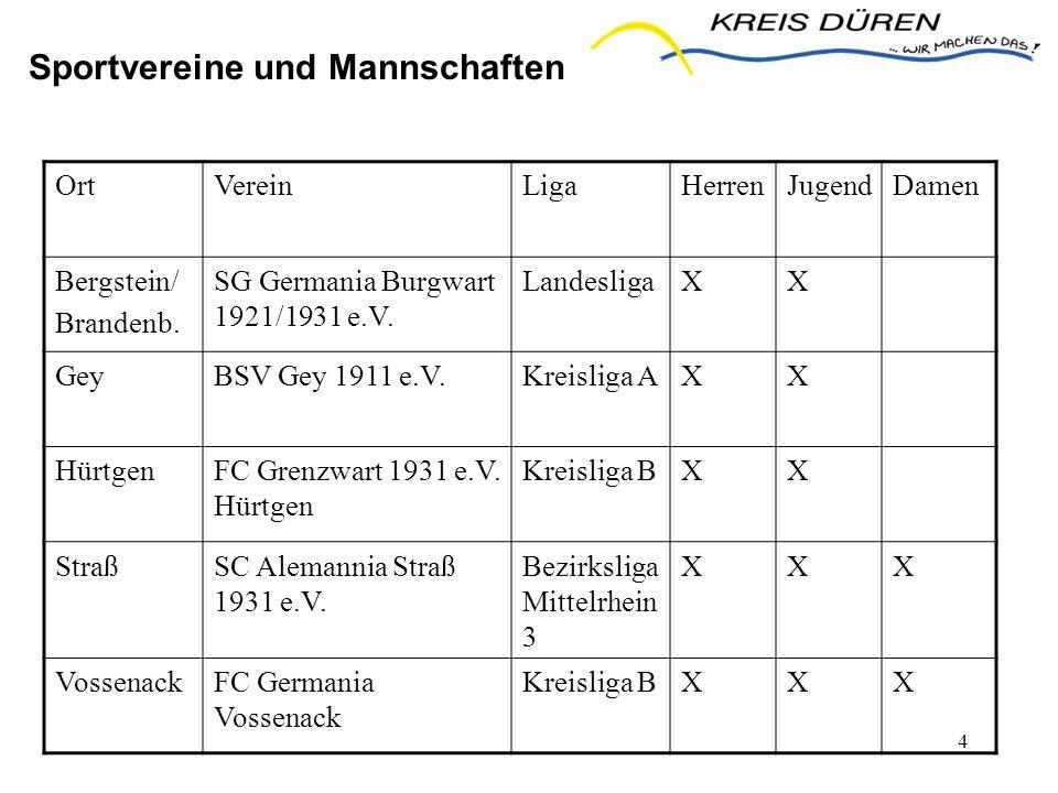 4 Sportvereine und Mannschaften OrtVereinLigaHerrenJugendDamen Bergstein/ Brandenb. SG Germania Burgwart 1921/1931 e.V. LandesligaXX GeyBSV Gey 1911 e