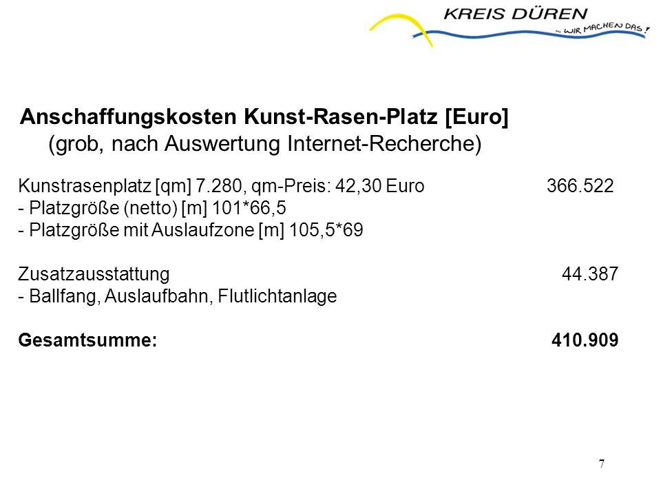 7 Kunstrasenplatz [qm] 7.280, qm-Preis: 42,30 Euro366.522 - Platzgröße (netto) [m] 101*66,5 - Platzgröße mit Auslaufzone [m] 105,5*69 Zusatzausstattun