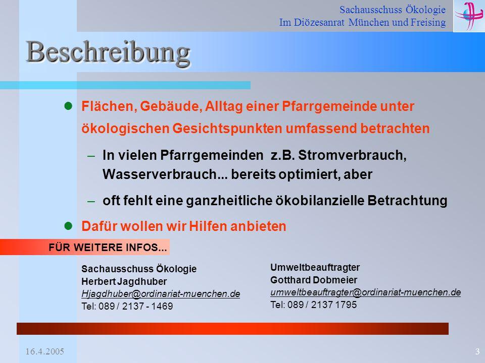 Sachausschuss Ökologie Im Diözesanrat München und Freising 16.4.20053 BeschreibungBeschreibung Flächen, Gebäude, Alltag einer Pfarrgemeinde unter ökol