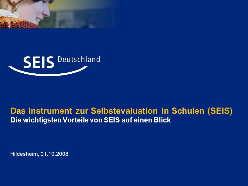 Selbstevaluation in Schulen (SEIS) Seite 12 Ergebnisse der Datenauswertung werden in Form eines individuellen, ausschließlich an die Schule gerichteten SEIS- Berichts in einem passwortgeschützte Bereich der Software bereitgestellt.