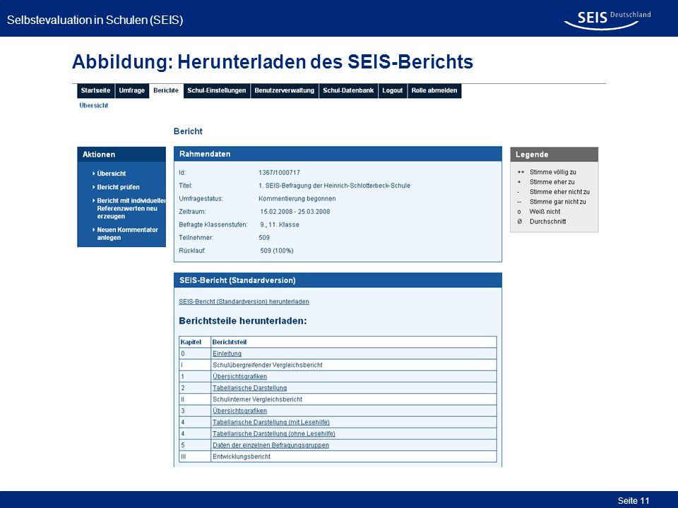 Selbstevaluation in Schulen (SEIS) Seite 11 Abbildung: Herunterladen des SEIS-Berichts