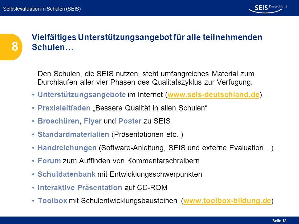 Selbstevaluation in Schulen (SEIS) Seite 18 Den Schulen, die SEIS nutzen, steht umfangreiches Material zum Durchlaufen aller vier Phasen des Qualitäts