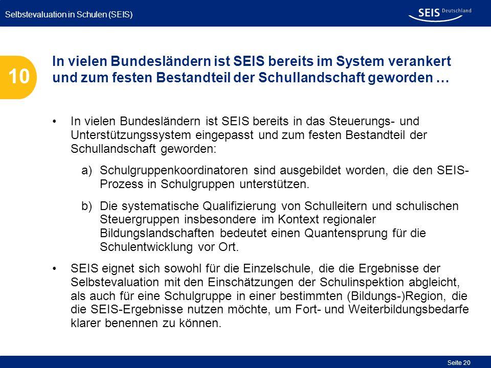 Selbstevaluation in Schulen (SEIS) Seite 20 In vielen Bundesländern ist SEIS bereits in das Steuerungs- und Unterstützungssystem eingepasst und zum fe