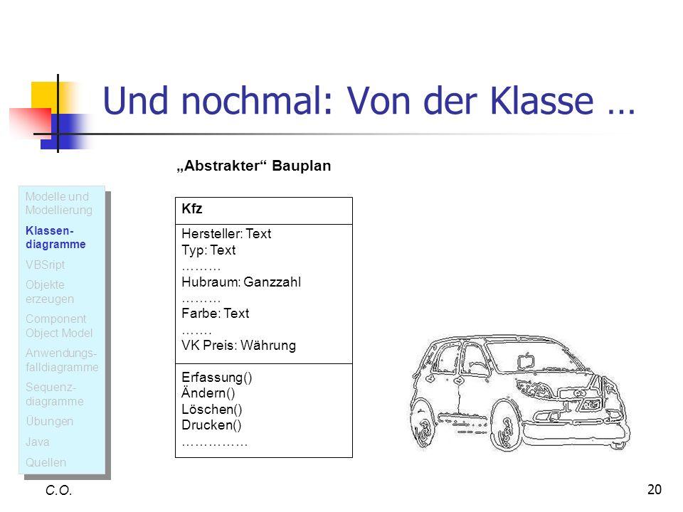 20 Und nochmal: Von der Klasse … C.O. Kfz Hersteller: Text Typ: Text ……… Hubraum: Ganzzahl ……… Farbe: Text ……. VK Preis: Währung Erfassung() Ändern()