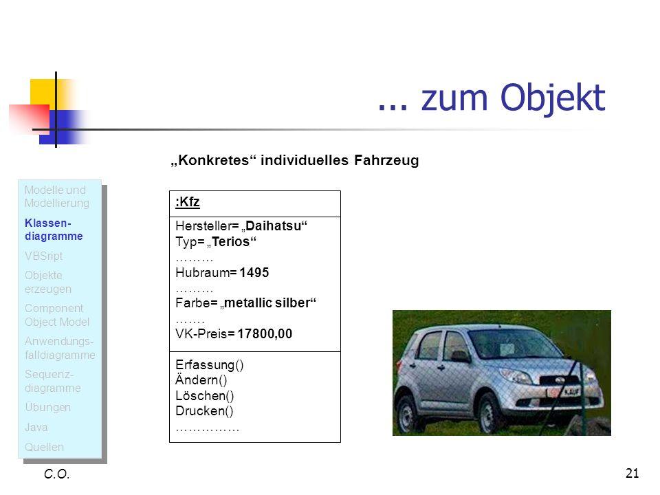 21... zum Objekt C.O. :Kfz Hersteller= Daihatsu Typ= Terios ……… Hubraum= 1495 ……… Farbe= metallic silber ……. VK-Preis= 17800,00 Erfassung() Ändern() L