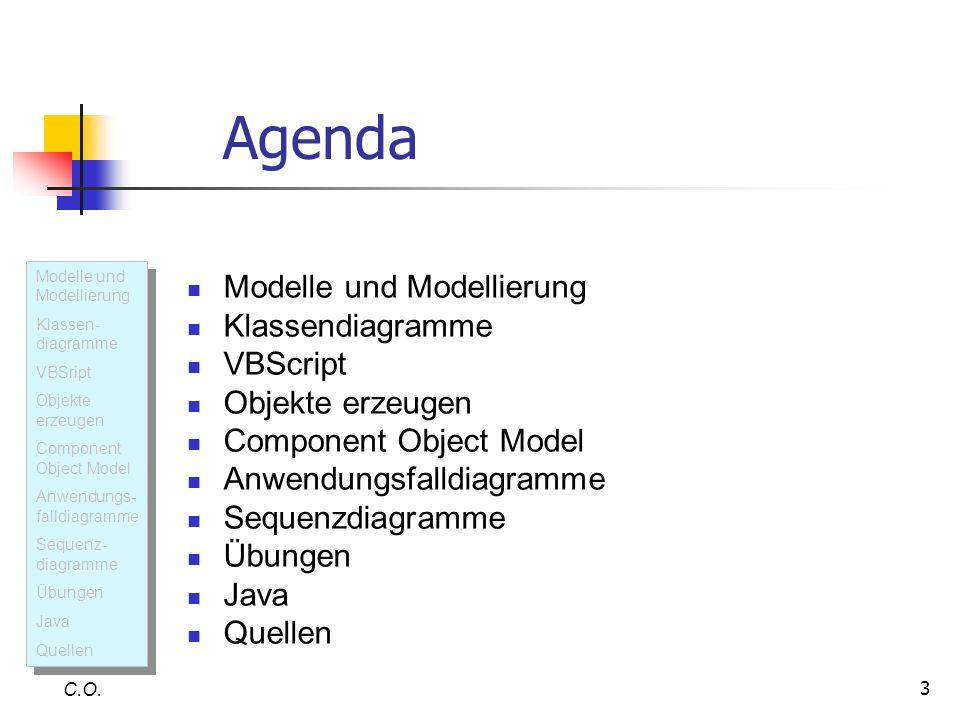 3 Agenda Modelle und Modellierung Klassendiagramme VBScript Objekte erzeugen Component Object Model Anwendungsfalldiagramme Sequenzdiagramme Übungen J
