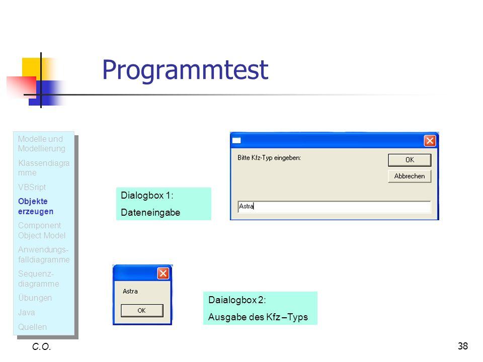 38 Programmtest C.O. Dialogbox 1: Dateneingabe Daialogbox 2: Ausgabe des Kfz –Typs Modelle und Modellierung Klassendiagra mme VBSript Objekte erzeugen