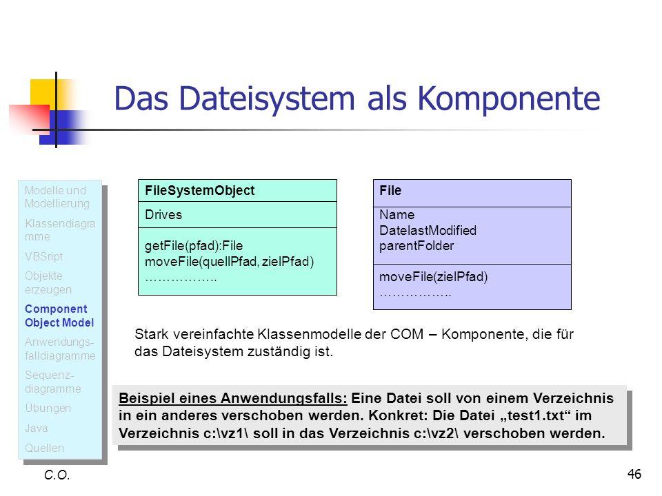 46 C.O. Das Dateisystem als Komponente FileSystemObject Drives getFile(pfad):File moveFile(quellPfad, zielPfad) …………….. Stark vereinfachte Klassenmode