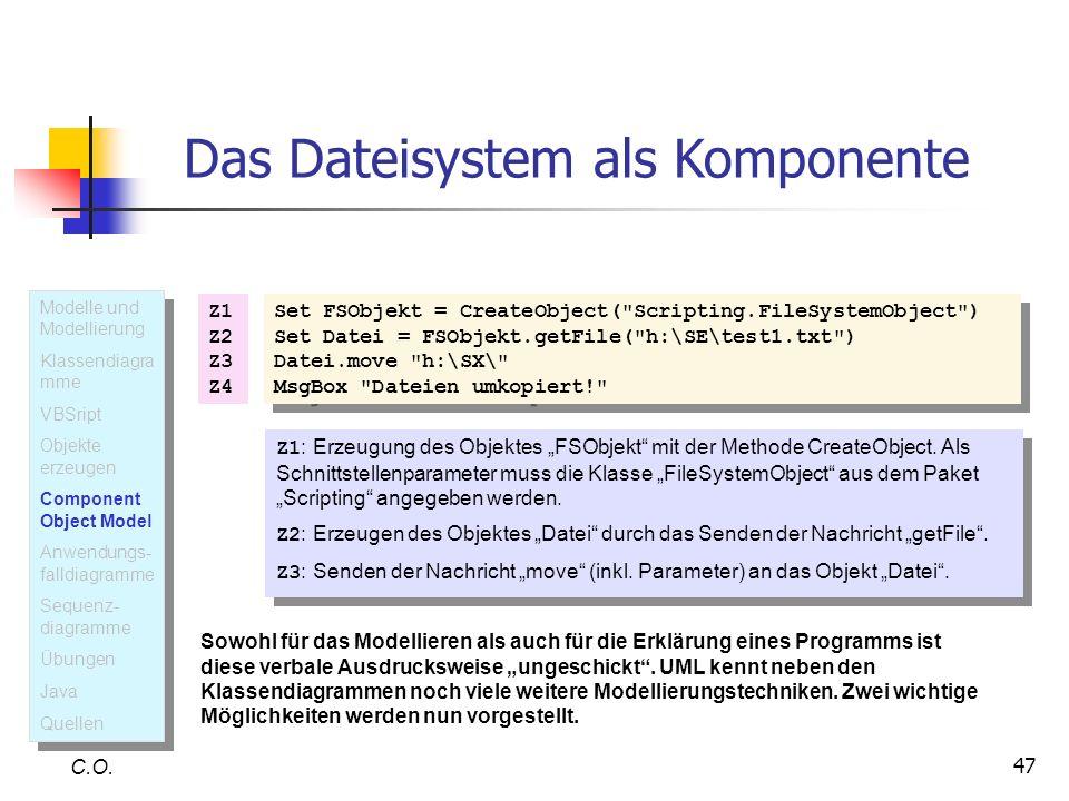 47 C.O. Das Dateisystem als Komponente Set FSObjekt = CreateObject(