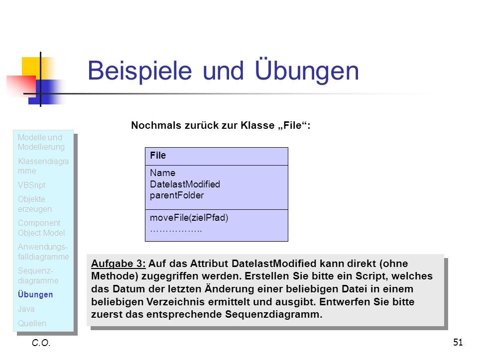 51 Beispiele und Übungen C.O. File Name DatelastModified parentFolder moveFile(zielPfad) …………….. Nochmals zurück zur Klasse File: Aufgabe 3: Auf das A