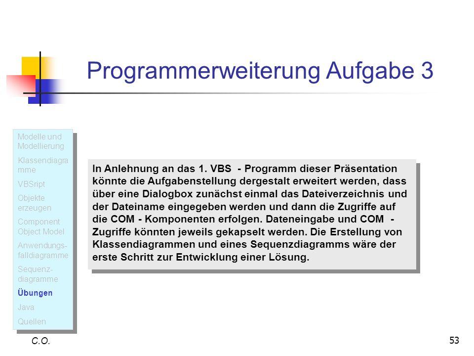 53 Programmerweiterung Aufgabe 3 C.O. In Anlehnung an das 1. VBS - Programm dieser Präsentation könnte die Aufgabenstellung dergestalt erweitert werde