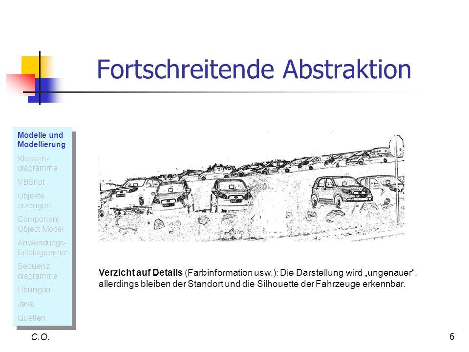 6 Fortschreitende Abstraktion C.O. Verzicht auf Details (Farbinformation usw.): Die Darstellung wird ungenauer, allerdings bleiben der Standort und di