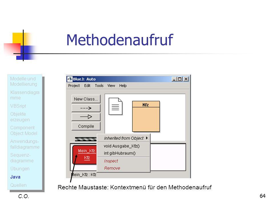 64 C.O. Rechte Maustaste: Kontextmenü für den Methodenaufruf Modelle und Modellierung Klassendiagra mme VBSript Objekte erzeugen Component Object Mode