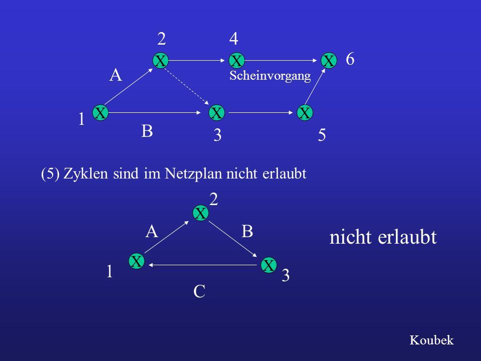 X X X X X X B 1 A 24 6 53 Scheinvorgang nicht erlaubt X X X (5) Zyklen sind im Netzplan nicht erlaubt A 1 C 3 B 2 Koubek