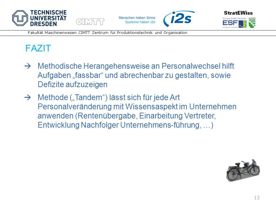 13 Fakultät Maschinenwesen CIMTT Zentrum für Produktionstechnik und Organisation FAZIT 13 Methodische Herangehensweise an Personalwechsel hilft Aufgab