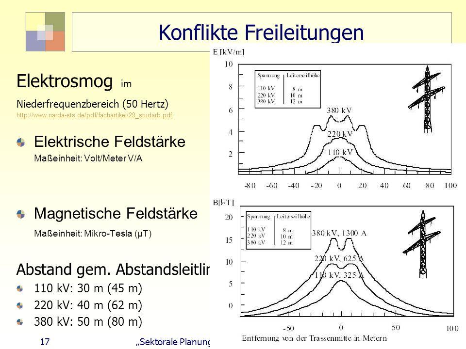 17 Sektorale Planung I - TU Berlin - ISR - SoSe 2007 Konflikte Freileitungen Elektrosmog im Niederfrequenzbereich (50 Hertz) http://www.narda-sts.de/p