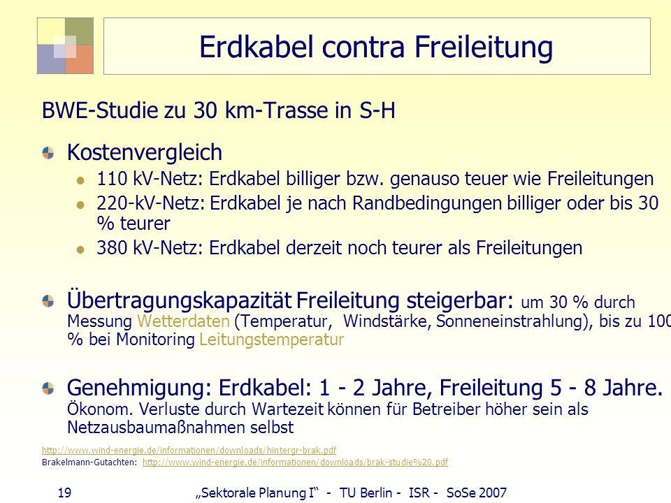 19 Sektorale Planung I - TU Berlin - ISR - SoSe 2007 Erdkabel contra Freileitung BWE-Studie zu 30 km-Trasse in S-H Kostenvergleich 110 kV-Netz: Erdkab
