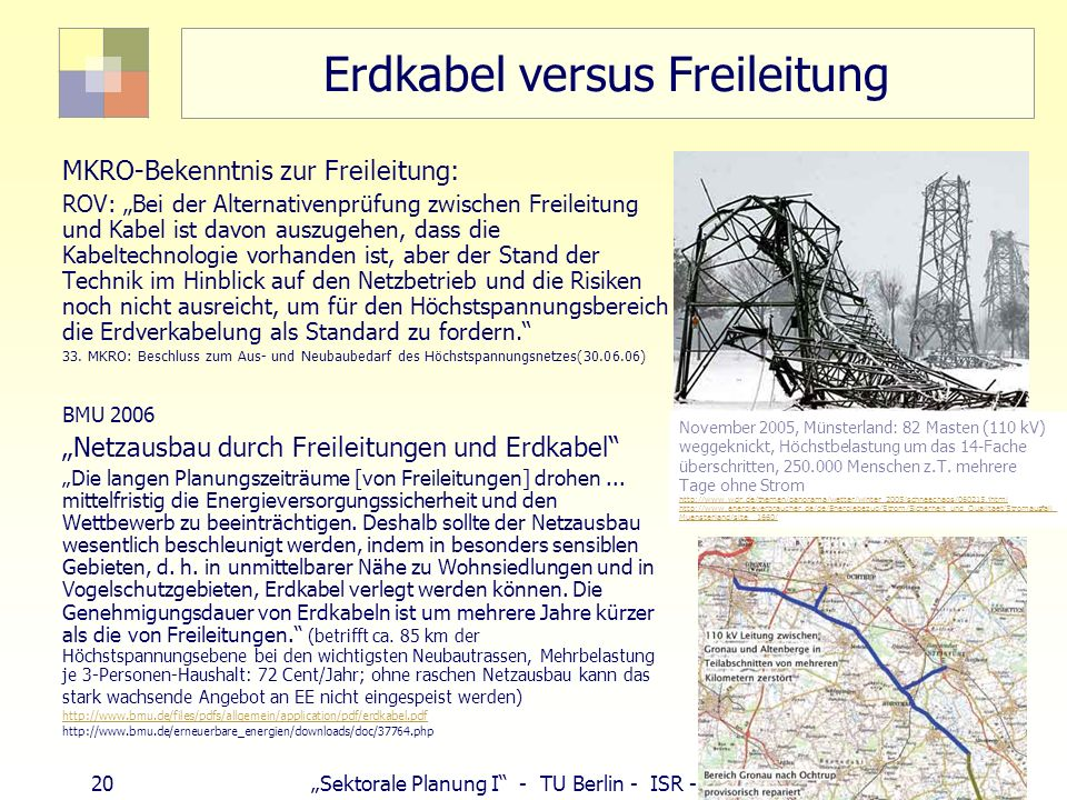 20 Sektorale Planung I - TU Berlin - ISR - SoSe 2007 Erdkabel versus Freileitung MKRO-Bekenntnis zur Freileitung: ROV: Bei der Alternativenprüfung zwi