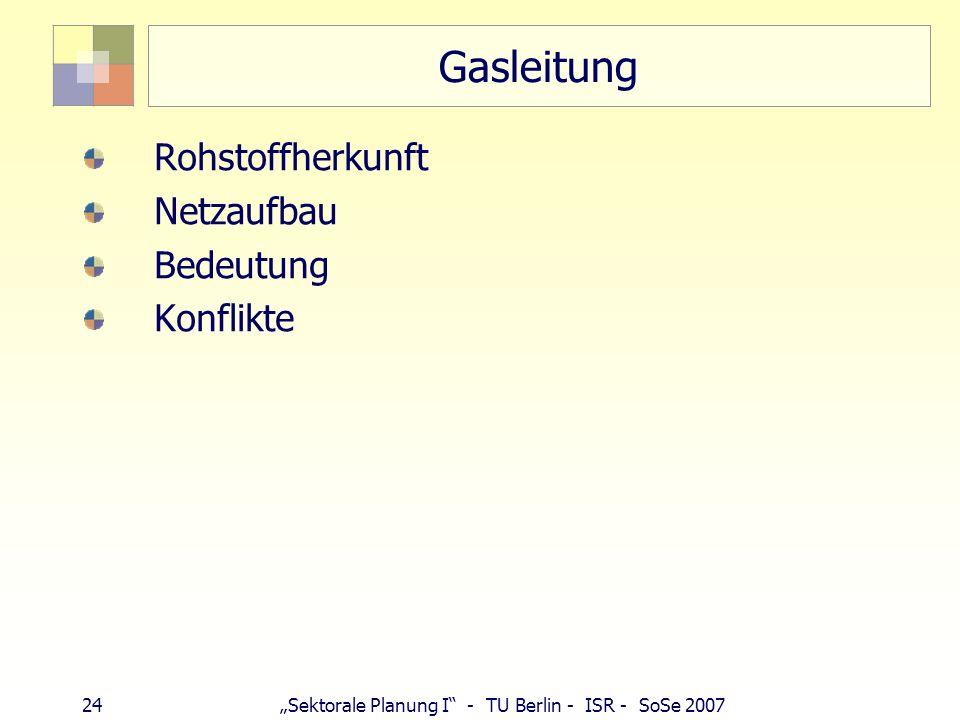 24 Sektorale Planung I - TU Berlin - ISR - SoSe 2007 Gasleitung Rohstoffherkunft Netzaufbau Bedeutung Konflikte