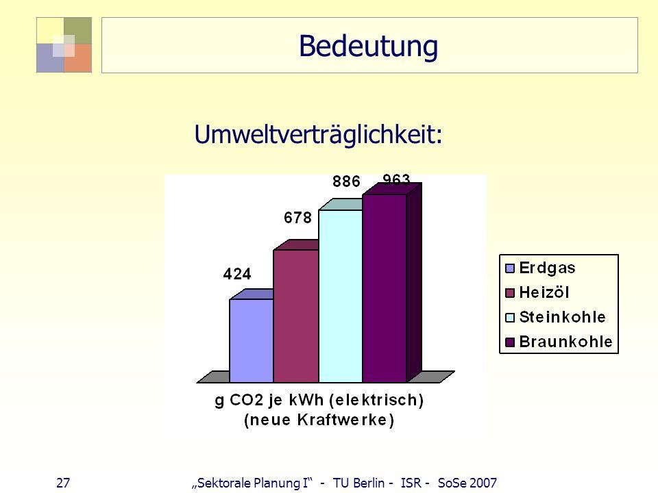 27 Sektorale Planung I - TU Berlin - ISR - SoSe 2007 Bedeutung Umweltverträglichkeit: