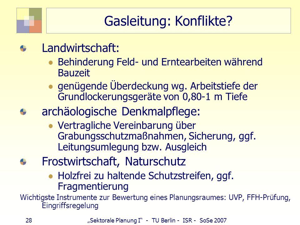 28 Sektorale Planung I - TU Berlin - ISR - SoSe 2007 Gasleitung: Konflikte? Landwirtschaft: Behinderung Feld- und Erntearbeiten während Bauzeit genüge