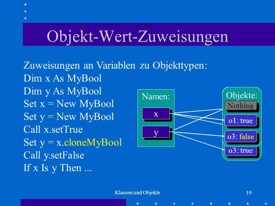 Klassen und Objekte10 Objekt-Wert-Zuweisungen Zuweisungen an Variablen zu Objekttypen: Dim x As MyBool Dim y As MyBool Set x = New MyBool Set y = New