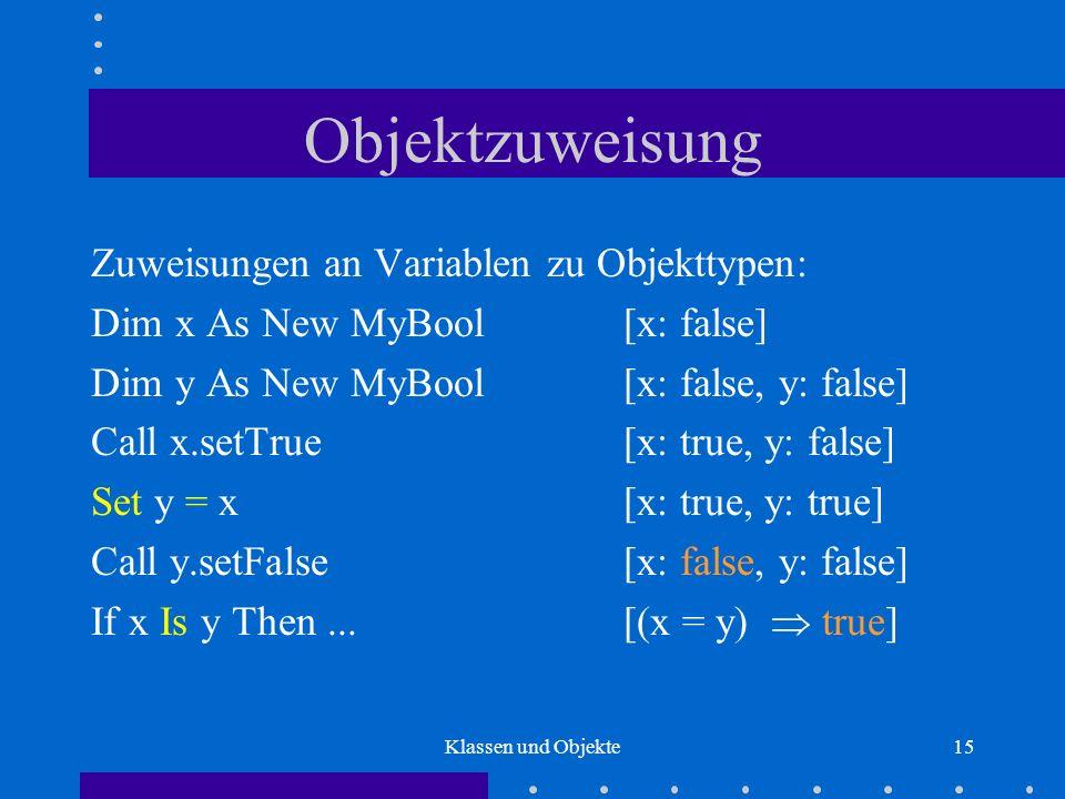 Klassen und Objekte15 Objektzuweisung Zuweisungen an Variablen zu Objekttypen: Dim x As New MyBool[x: false] Dim y As New MyBool [x: false, y: false]
