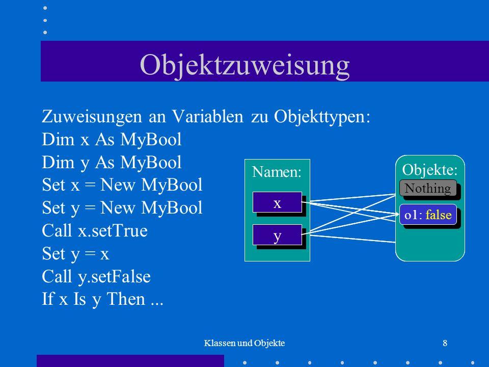 Klassen und Objekte8 Objektzuweisung Zuweisungen an Variablen zu Objekttypen: Dim x As MyBool Dim y As MyBool Set x = New MyBool Set y = New MyBool Ca