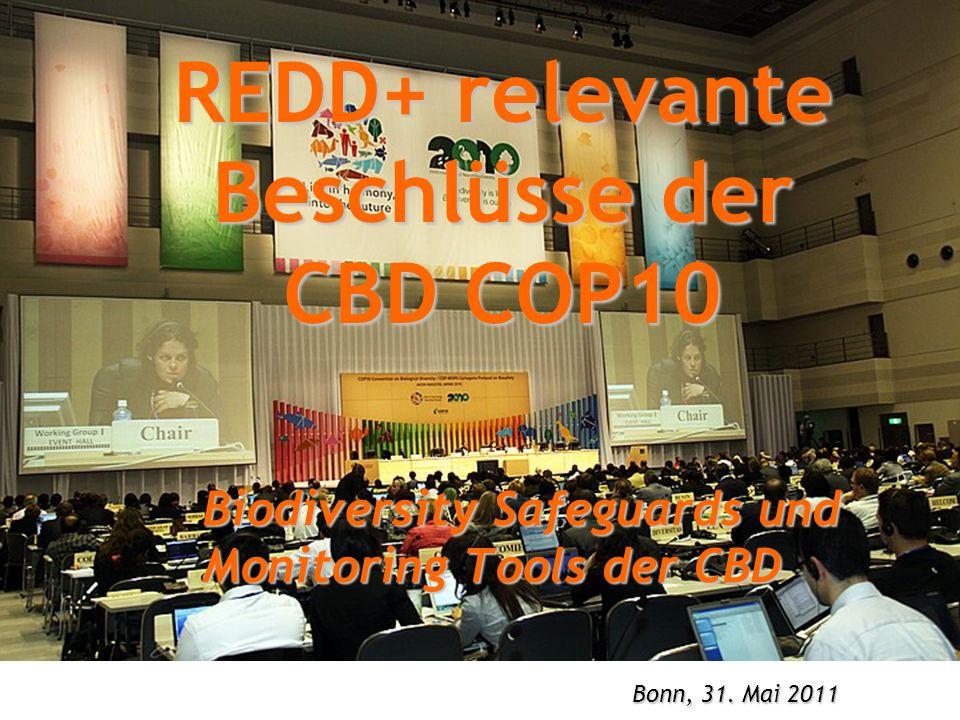 REDD+ relevante Beschlüsse der CBD COP10 Biodiversity Safeguards und Monitoring Tools der CBD Bonn, 31. Mai 2011