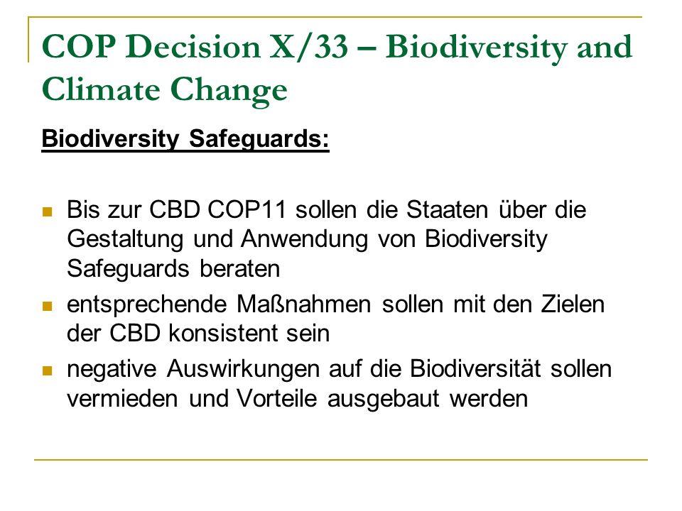 COP Decision X/33 – Biodiversity and Climate Change Biodiversity Safeguards: Bis zur CBD COP11 sollen die Staaten über die Gestaltung und Anwendung von Biodiversity Safeguards beraten entsprechende Maßnahmen sollen mit den Zielen der CBD konsistent sein negative Auswirkungen auf die Biodiversität sollen vermieden und Vorteile ausgebaut werden