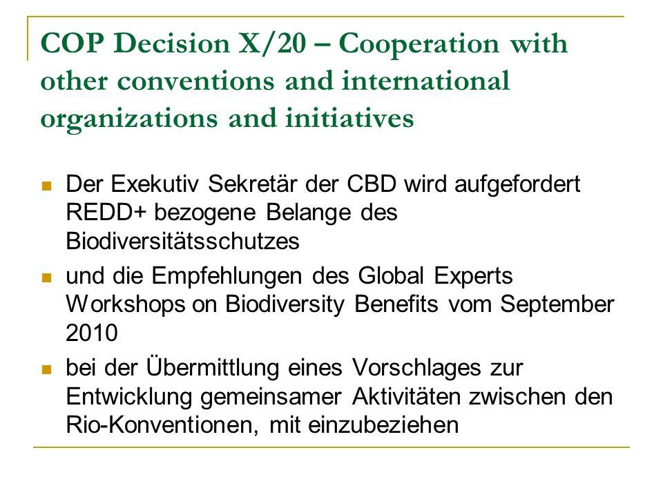 COP Decision X/20 – Cooperation with other conventions and international organizations and initiatives Der Exekutiv Sekretär der CBD wird aufgefordert