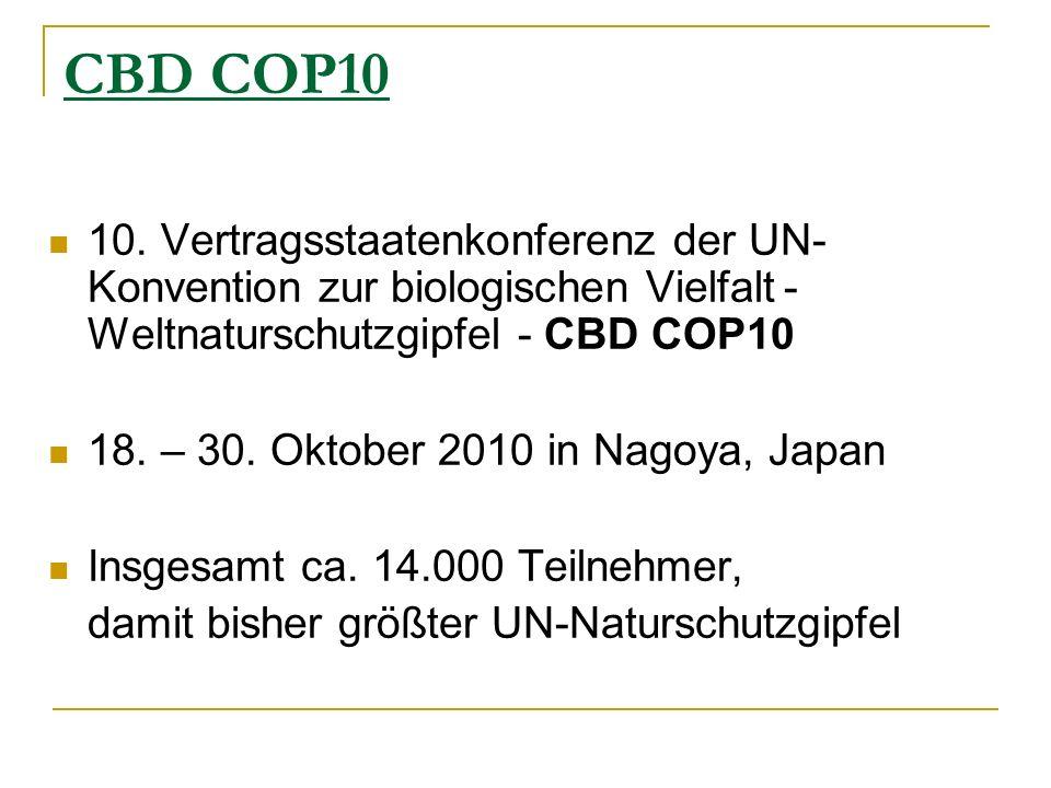 CBD COP10 10. Vertragsstaatenkonferenz der UN- Konvention zur biologischen Vielfalt- Weltnaturschutzgipfel - CBD COP10 18. – 30. Oktober 2010 in Nagoy