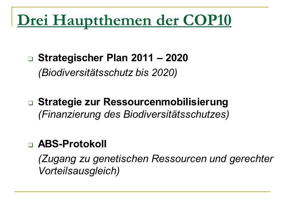 Drei Hauptthemen der COP10 Strategischer Plan 2011 – 2020 (Biodiversitätsschutz bis 2020) Strategie zur Ressourcenmobilisierung (Finanzierung des Biodiversitätsschutzes) ABS-Protokoll (Zugang zu genetischen Ressourcen und gerechter Vorteilsausgleich)