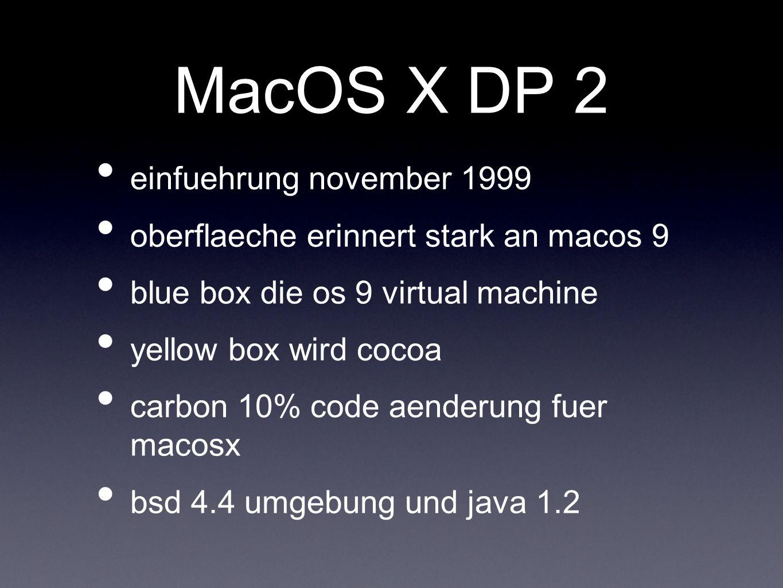 MacOS X DP 2 einfuehrung november 1999 oberflaeche erinnert stark an macos 9 blue box die os 9 virtual machine yellow box wird cocoa carbon 10% code aenderung fuer macosx bsd 4.4 umgebung und java 1.2