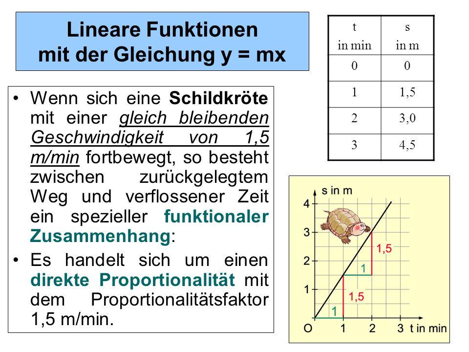 1 Lineare Funktionen mit der Gleichung y = mx Wenn sich eine Schildkröte mit einer gleich bleibenden Geschwindigkeit von 1,5 m/min fortbewegt, so best