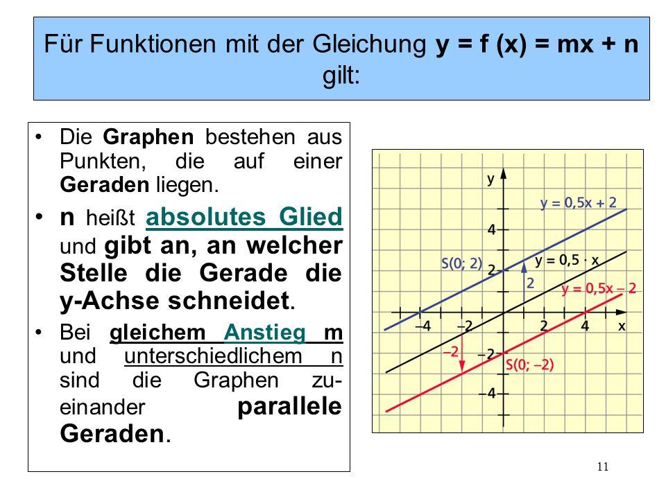 11 Für Funktionen mit der Gleichung y = f (x) = mx + n gilt: Die Graphen bestehen aus Punkten, die auf einer Geraden liegen. n heißt absolutes Glied u