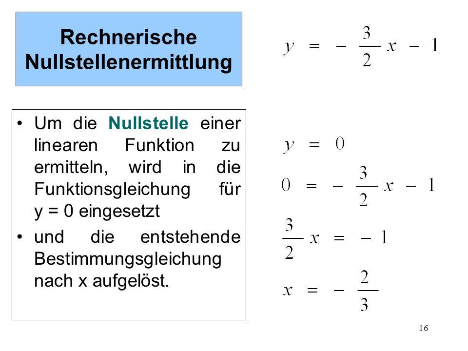 16 Rechnerische Nullstellenermittlung Um die Nullstelle einer linearen Funktion zu ermitteln, wird in die Funktionsgleichung für y = 0 eingesetzt und